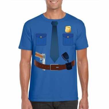 Politie uniform carnavalskleding t shirt blauw voor heren