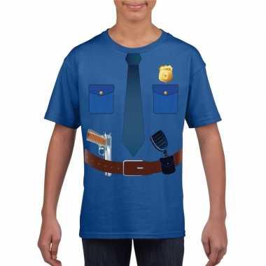 Politie uniform carnavalskleding t shirt blauw voor kinderen
