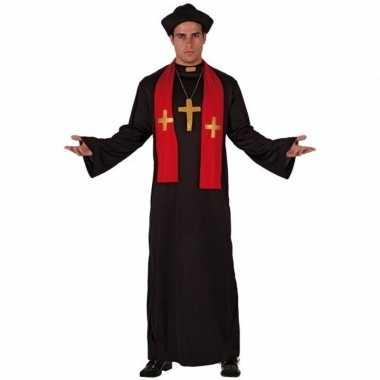 Priester carnavalskleding zwart met rood