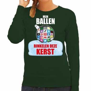 Rinkelende kerstbal sweater / kerst carnavalskleding mijn ballen rinkelen deze kerst groen voor dames
