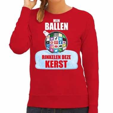 Rinkelende kerstbal sweater / kerst carnavalskleding mijn ballen rinkelen deze kerst rood voor dames