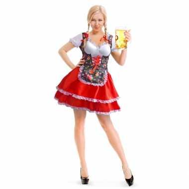 Rode/bloemen dirndl carnavalskleding/jurkje voor dames