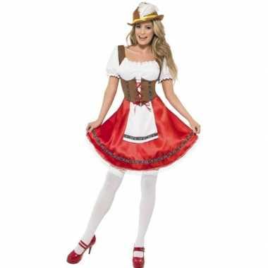 Rode/bruine dirndl carnavalskleding/jurkje voor dames