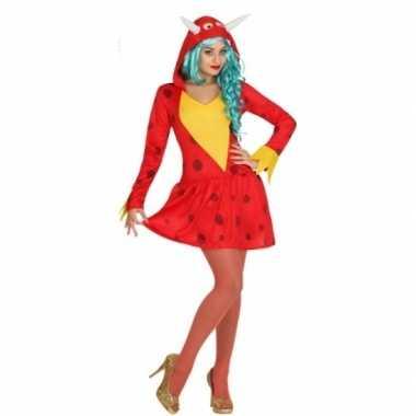 Rode draak carnavalskleding voor dames