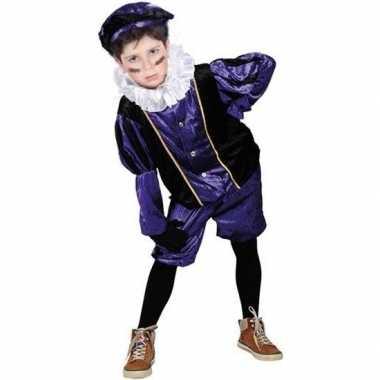 Roetveeg pieten carnavalskleding paars/zwart voor kinderen