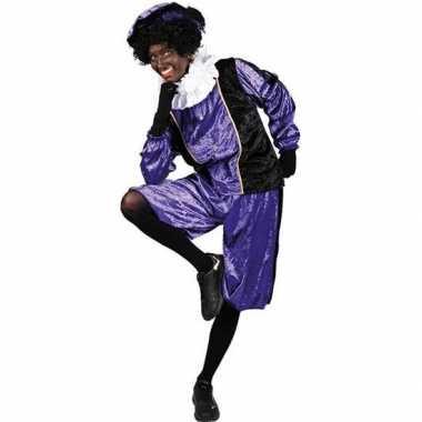 Roetveeg pieten carnavalskleding paars/zwart voor volwassenen