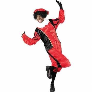Roetveeg pieten carnavalskleding rood/zwart voor volwassenen