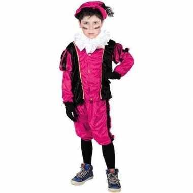 Roetveeg pieten carnavalskleding roze/zwart voor kinderen