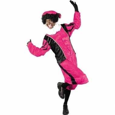 Roetveeg pieten carnavalskleding roze/zwart voor volwassenen
