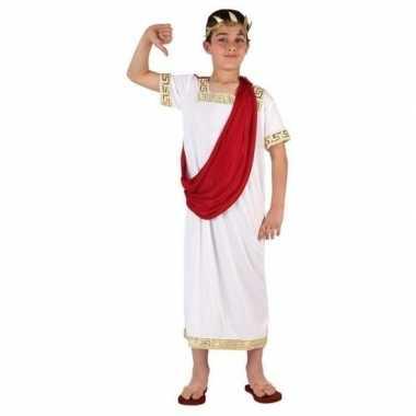 Romeinse toga carnavalskleding wit/rood voor jongens