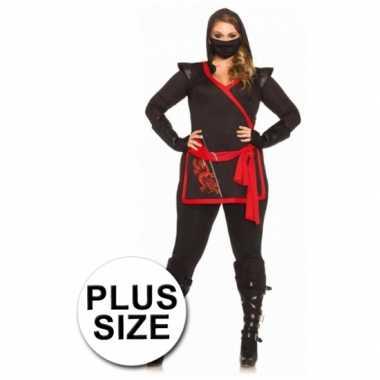 Rood met zwart ninja carnavalskleding voor dames