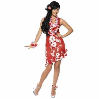 Rood/wit hawaii carnavalskleding/jurkje met accessoires dames
