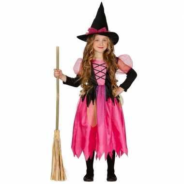 Roze heks carnavalskleding shiny witch voor kinderen