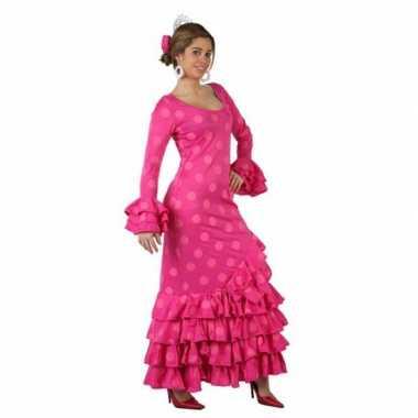Roze spaanse carnavalskleding jurk