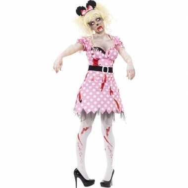 Roze zombie minnie carnavalskleding voor dames