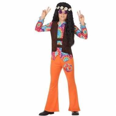 Sixties/hippie carnavalskleding oranje voor jongens