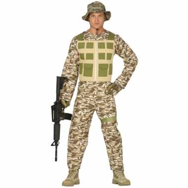 Soldaat pak/carnavalskleding camouflage/woestijn voor heren