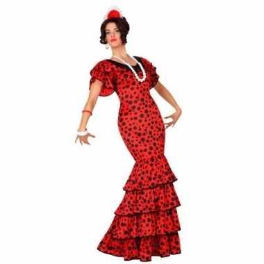 Spaanse flamencodanseres jurk rood carnavalskleding voor dames
