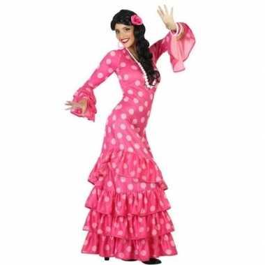 Spaanse flamencodanseres jurk roze carnavalskleding voor dames