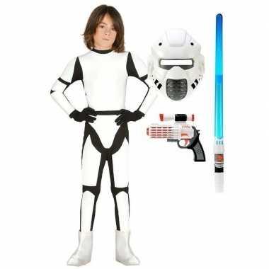 Space trooper carnavalskleding maat 122 134 voor kinderen
