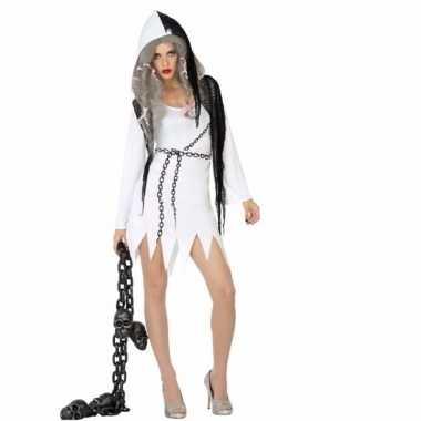 Spook dames carnavalskleding wit met zwart