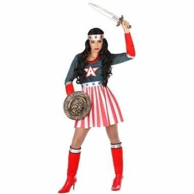 Superheld amerikaanse kapitein pak/carnavalskleding voor dames