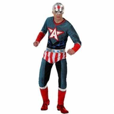 Superheld amerikaanse kapitein pak/carnavalskleding voor heren