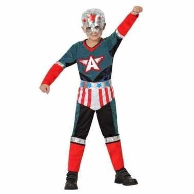 Superheld kapitein amerika pak/ carnavalskleding voor jongens