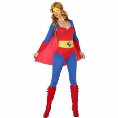 Superheld pak/carnavalskleding blauw/rood voor dames