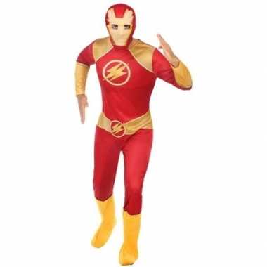 Superheld pak/carnavalskleding rood/goud voor heren