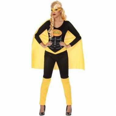 Superheld pak/carnavalskleding zwart/geel voor dames