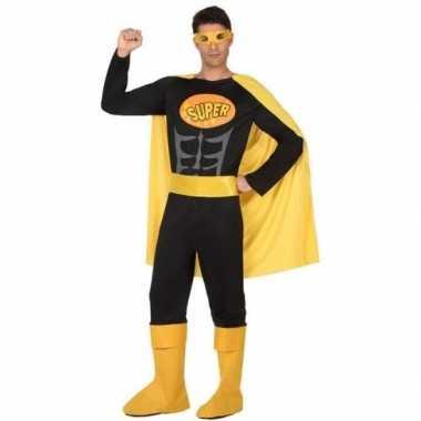 Superheld pak/carnavalskleding zwart/geel voor heren