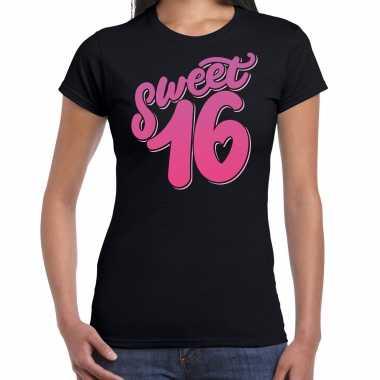 Sweet 16 verjaardag cadeau t shirt / carnavalskleding zwart dames