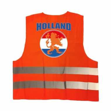 Veiligheidshesje holland met oranje leeuw ek / wk supporter carnavalskleding voor volwassenen
