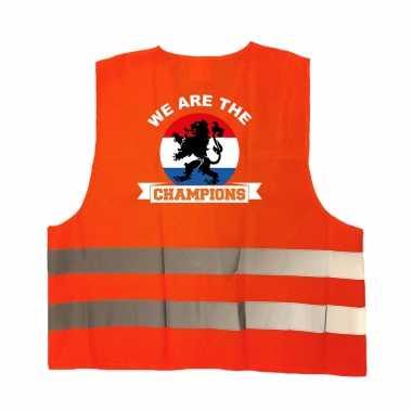 We are the champions oranje veiligheidshesje ek / wk supporter carnavalskleding voor volwassenen