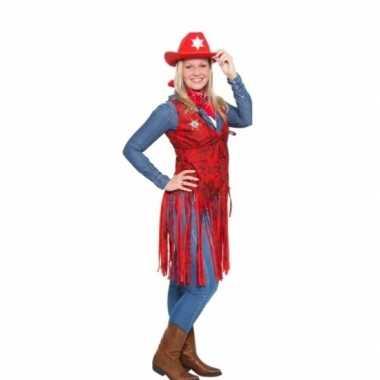 Western rood cowgirl carnavalskleding voor dames