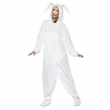 Wit konijn/haas carnavalskleding voor volwassenen
