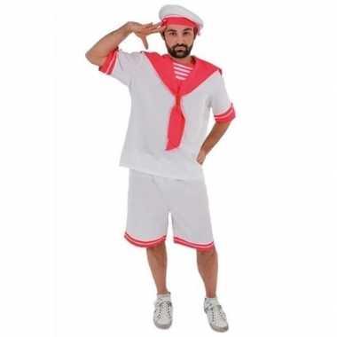 Wit/roze matrozen carnavalskleding voor heren