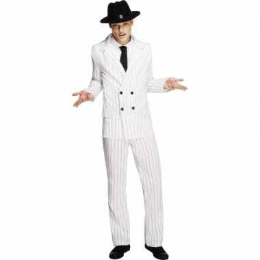 Witte gangster carnavalskleding voor mannen