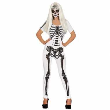 Witte skelet catsuit carnavalskleding voor dames