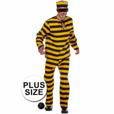 Xl inbreker carnavalskleding zwart/geel voor heren