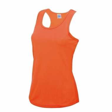 Yoga carnavalskleding neon oranje dames sport top