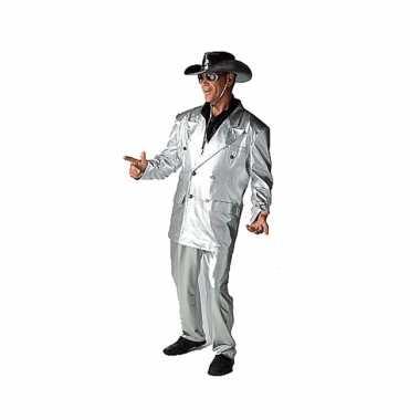 Zilveren bling carnavalskleding voor heren