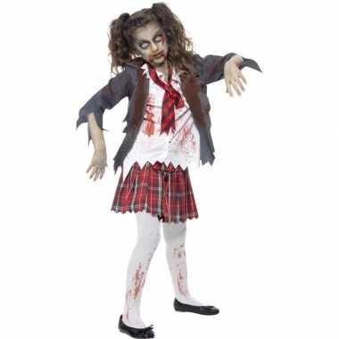 Zombie schoolmeisje carnavalskleding voor meisjes