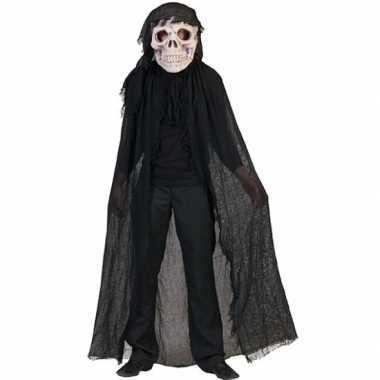Zwart doodshoofd spook carnavalskleding