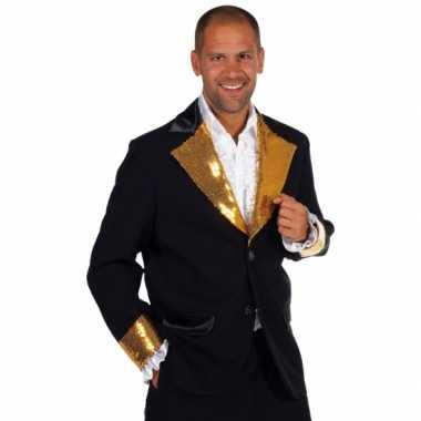 Zwart / goud glitter carnavalskleding heren