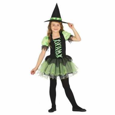 Zwart/groen heksen carnavalskleding voor meisjes