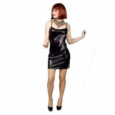 Zwart met lichte glitter stretch carnavalskleding/jurk