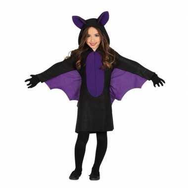 Zwart met paars vleermuis carnavalskleding voor meisjes