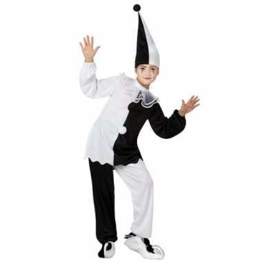 Zwart met wit pierrot clown carnavalskleding